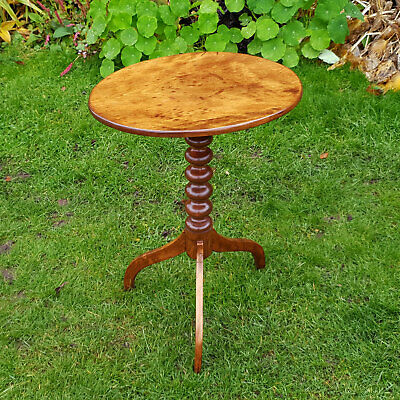 Victorian Walnut Bobbin Stem Oval Tripod Side Wine Table C19th