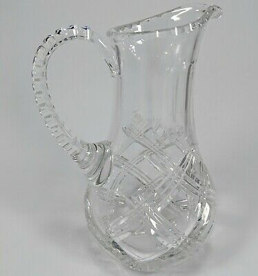 Vintage Cut Leaded Glass Crystal Pitcher Carafe Water Wine