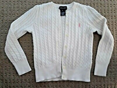 EUC Girls WHITE Cotton Polo RALPH LAUREN Brand CARDIGAN Size 5