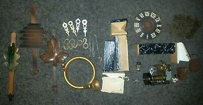 Vintage Cuckoo Clock Germany Lot Parts Music Box Face Chains Bellows Doors