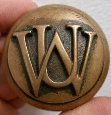 U W Emblematic Letter Door Knob Brass Bronze Antique Victorian Rare Solid