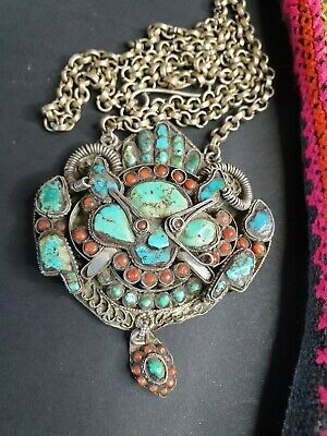 Antique Tibetan Rams Necklace in Silver with Red Coral & Turquoise Stones …beaut