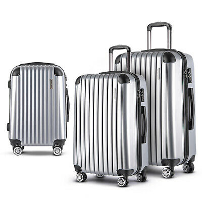 Wanderlite 3pc Luggage Sets Suitcases Trolley TSA Silver Hard Case Lightweight
