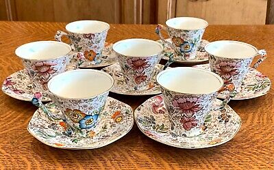 7 Vintage James Kent China Chintz Tea Coffee Cups Saucers England Great Britain