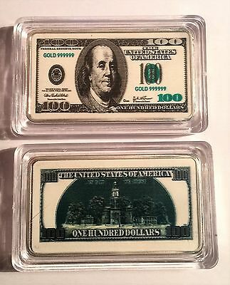 New $100 USA Old Note 1 oz Ingot 999 Silver Plated/Colour Printed in Capsule