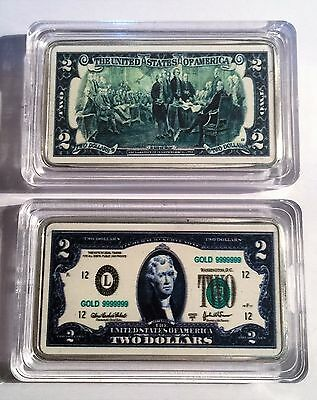 New $2.00 USA New Note 1 oz Ingot 999 Silver Plated/Colour Printed in Capsule.