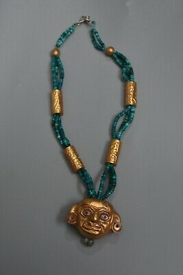 Precolumbian,turquoise and  gold (tumbaga) necklace ,Moche,CHAVIN,Chimu