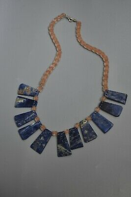 Anice Precolumbian, sodalite and quartz necklace ,Moche,CHAVIN,Chimu
