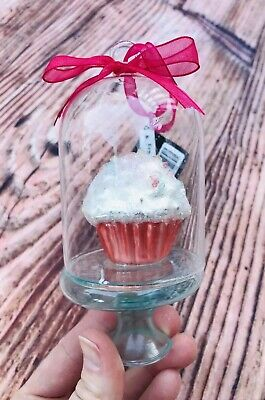 NWT Hobby lobby Cupcake In Glass Cake Stand + Gum-ball  glass blown ornaments
