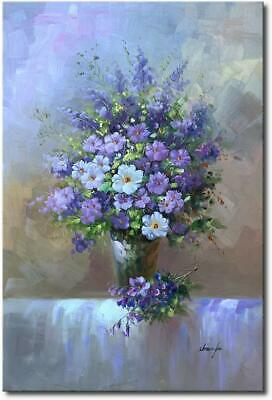 Hand Painted Purple Abstract Flower Oil Painting Floral Canvas Wall Art Decor