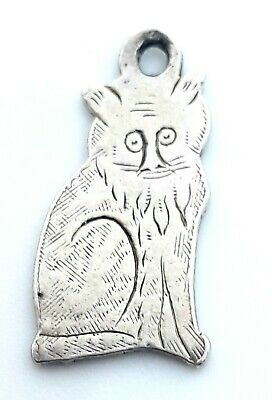 RARE Antique Edwardian Sterling Silver Hand Etched Feline Kitty Cat Charm