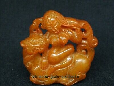 Collection Old China Jade Hand Carving Beast Buddha Statue Pendant Amulet
