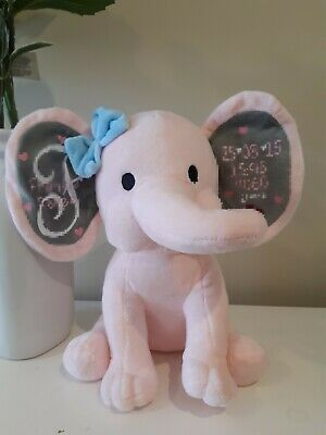 Personalised Elephant Birth Stats Plush Baby Gift PINK ONLY