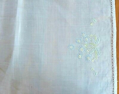 Large White Linen Doily Tray Cloth Embroidered Blue Flowers