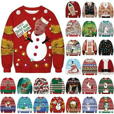 Women Men Christmas Xmas Unisex Ugly Jumper Sweater Funny Novelty Party Pullover