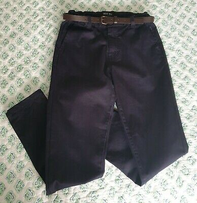 Boys INDIE KIDS Navy Chino Pants with Belt  - Size 12 - Graduation