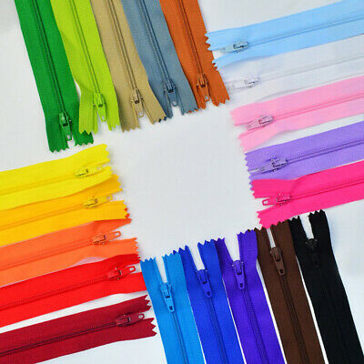 100PCS 12 Inch Open Ended Nylon Coil Zippers 20 Colours Zips For Sewing & Crafts