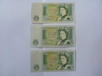 Bank of England 3 x 1 pound notes - 1970s Somerset - 1 aUNC, 1 EF, 1 VF