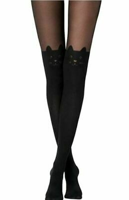 Ladies Cat Print Black Tights Over-Knee Cat Face Stretchable Durable Tights