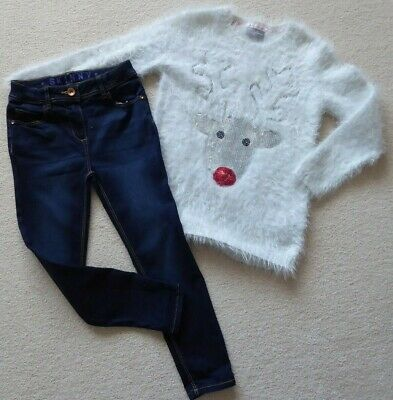 GIRLS XMAS JUMPER by MATALAN + PAIR OF JEANS by GEORGE, AGE 6 - 7 YRS