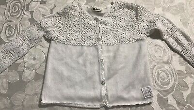 Girls Alphabet French Brand White Cotton Lace Cardigan Top Size 4 Exc Condition