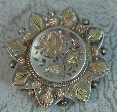 Victorian Aesthetic Movement Solid Silver & Gold Front Floral Brooch