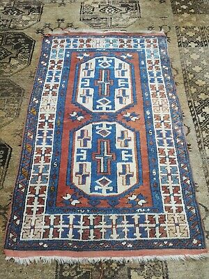 Vintage 1940c Primitive Afghan Tribal Rug, Hand Loomed ,Traditional ,99p
