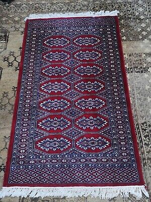 Vintage Deep red Pakistani Good quality BOKHARA Rug 99p SALE !!