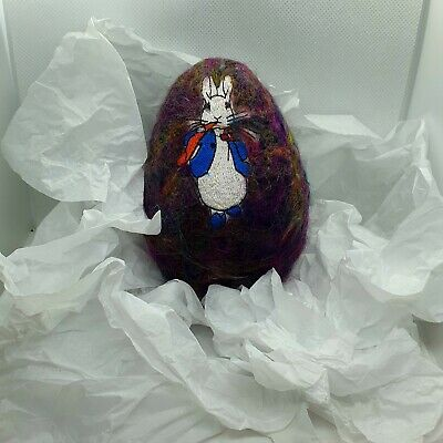 "Handmade Needle Felted Egg Bauble, Ooak, ""Peter Rabbit"" 6"" Tall"