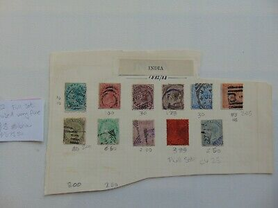 India 1882-1888 Victoria Full set 11 stamps VFU, nice lot on old album page