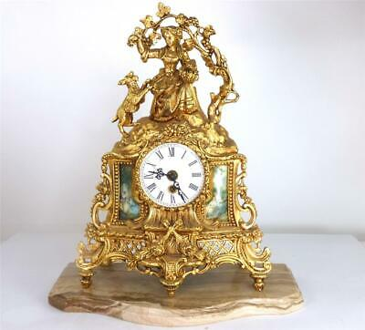 Impressive Vintage Rococo Gold Brass Mantle Clock Hermle