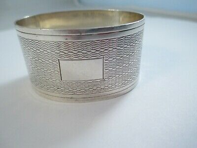 LOVELY ENGINE TURNED SOLID SILVER  NAPKIN RING , BIRMINGHAM 1953,  24.2g