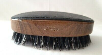 Vintage clothes brush - made in West Germany - veneer wood surround/leather top