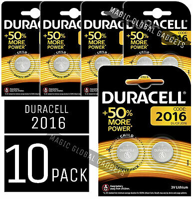 10x Duracell CR2016 3V Coin Cell Battery 2016, DL2016, BR2016, SB-T11 - LONG EXP