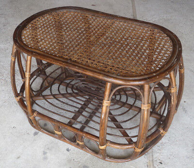 Antique coffee table wicker vintage years 1960 french antique low table