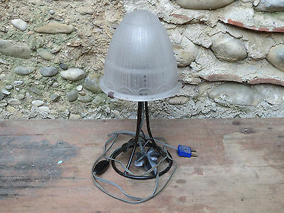 Antique Lamp Wrought Iron and Lampshade Day Glass Muller Frères Lunéville French