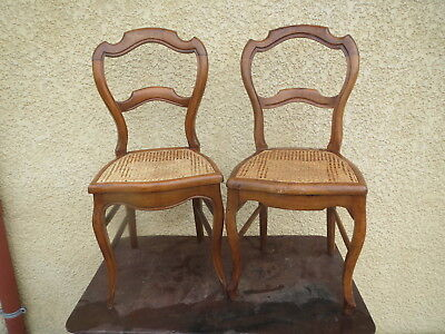 2 Antique Beautiful Chairs Louis Philippe Time Caning Seat Antique