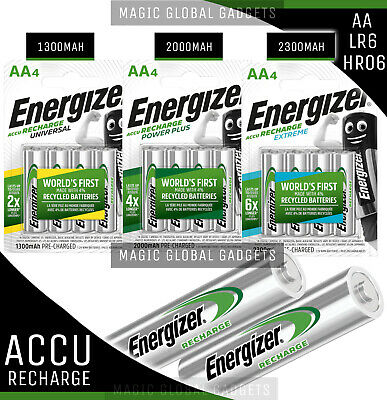 ENERGIZER AA RECHARGEABLE BATTERIES 1300mAh 2000mAh 2300mAh PRE CHARGED Ni-MH