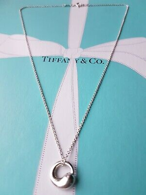"Authentic Tiffany & Co Elsa Peretti Eternal Round Circle Necklace, 18"" Chain"
