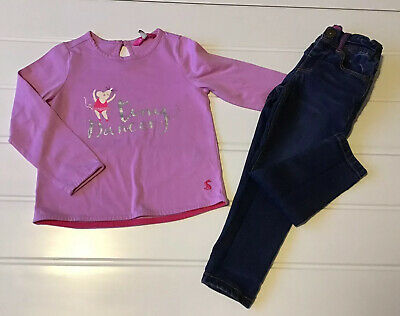 "Girls Joules 3 Years Pink Long sleeved Top ""Little Dancer Glitter Detail & Jeans"