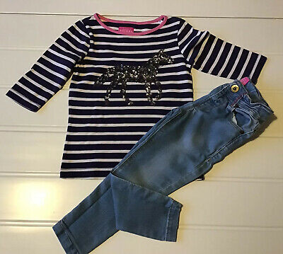 Girls Joules Age 3 Years Pony Sequin Top & Jeans Striped Blue