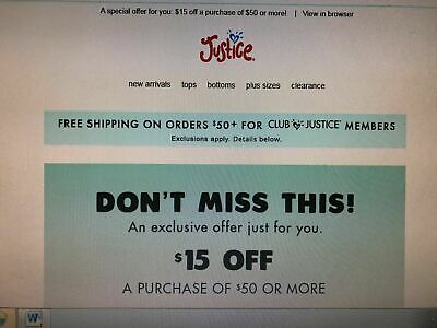 Justice Girls Coupon $15 off of $50 Purchase Valid Through November 24, 2019