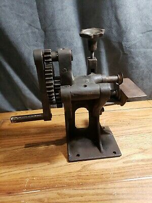 Antique Cast Iron Hand Crank Leather Cutting Machine Cobbler Trimmer lace