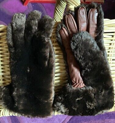 Vintage Ladies Dark Brown Rabbit Fur Gauntlet Lined Gloves
