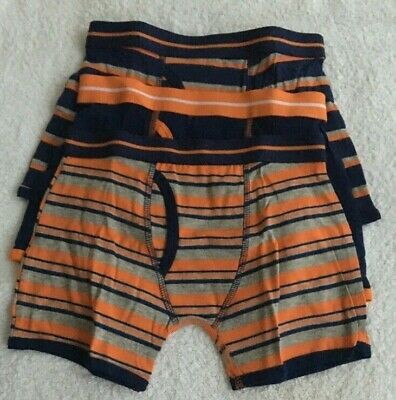 Boys 3 Pack Multi Stripe And Plain Trunk Fit Boxer Shorts Briefs Age 6-7 New