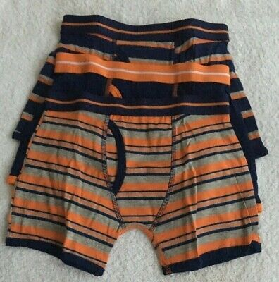 Boys 3 Pack Multi Stripe And Plain Trunk Fit Boxer Shorts Briefs Age 7-8 New