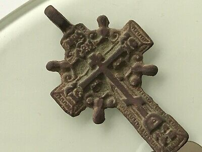 Ancient  bronze pectoral Believer cross Middle Ages