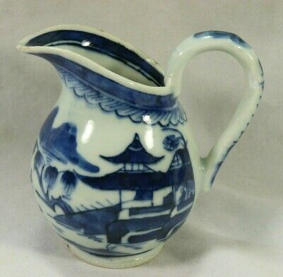 Qing 18/19th Chinese Canton Hand Painted Porcelain Creamer Shoreline Village