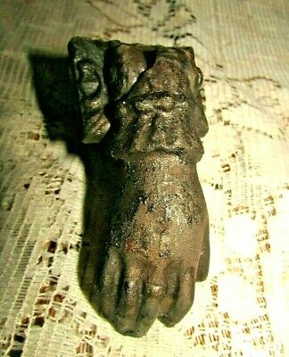 Antique Victorian Cast Iron Door Knocker Hand 1800's Whimsical, Ornate Cast Iron