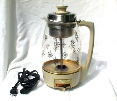 Proctor Silex Vintage Coffee Electric Percolator Pot 70101 Atomic Starburst